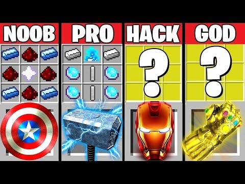 Minecraft Battle: AVENGERS ENDGAME CRAFTING CHALLENGE ~ NOOB vs PRO vs HACKER vs GOD –Animation