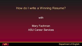 ASU English - Resume Workshop