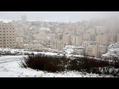 جولة في مدينة رام الله وتساقط الثلوج 2016