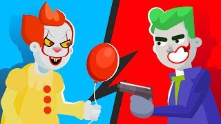 PENNYWISE vs THE JOKER - WHO WOULD WIN? (IT MOVIE vs The JOKER MOVIE) || FUNNY ANIMATION