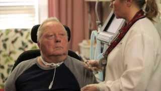 A patient at Ambassador Omaha using the Passy-Muir Valve