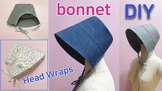 DIY Bonnet & Head Wraps/Make A Sun Bonnet/요리두건 만들기/보넷 모자만들기/김수미두건