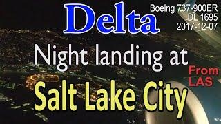 Delta flight DL1695 landing at night at SLC in Boeing 737-900ER