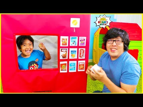 Ryan Pretend Play with Vending Machine Toy for Kids Story!!!