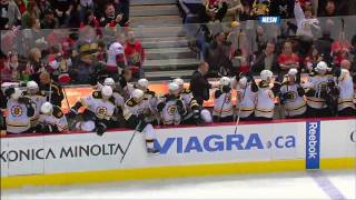 Bruins come back from down 3-1 in the last 1:28, win 4-3 in OT 10/24/09 HD
