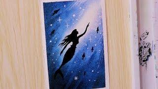Simple Watercolor Painting Tutorial Of Mermaid Scenery For Beginners