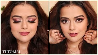 Full Glam Eye Makeup Tutorial | Huda Beauty Rose Gold Remastered India - Download this Video in MP3, M4A, WEBM, MP4, 3GP