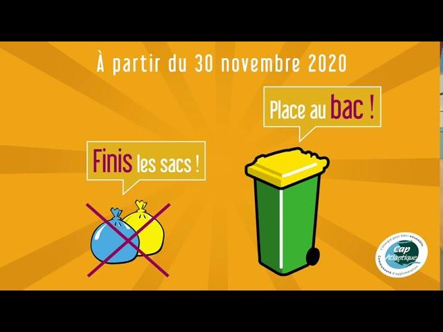 À partir du 30 novembre 2020, finis les sacs, place au bac !