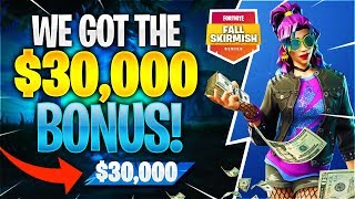 WE WON THE $30,000 BONUS! #FallSkirmish (Fortnite Battle Royale)