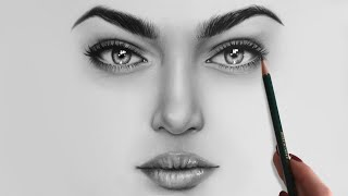 Drawing And Shading A Female Face // Shading Realistic Eyes, Nose And Lips With Graphite Pencils