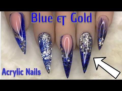 Blue & Gold Sparkle | Acrylic Nails | Nail Sugar