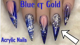 Blue & Gold Sparkle | Acrylic Nails | Nail Sugar
