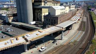 Drone video of the construction of the Centennial Road overpass
