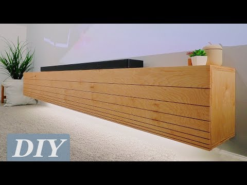 How To Build a Floating Media Console w/ Undermount LED's | DIY Woodworking