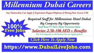 Millennium Hotel Dubai Careers 2019 | Jobs In Dubai Big List