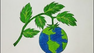 How To Draw SAVE EARTH SAVE TREES Colouring Easy Drawing Step By Step For Kids Easy||Money Guru 1002