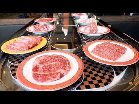 a variety of rotating meats & beef noodle / 회전초밥처럼 먹는 회전고깃집 / korean food