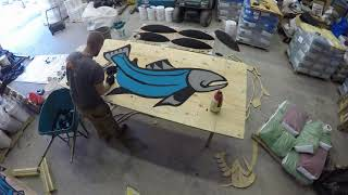 Timelapse of Noel Brown's Coho salmon design, to be set into the rubber playground surface.