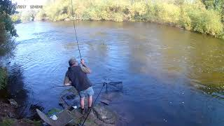 Playing a Barbel on the River Severn 2020