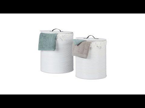Wäschekorb 2er Set Rattan weiß