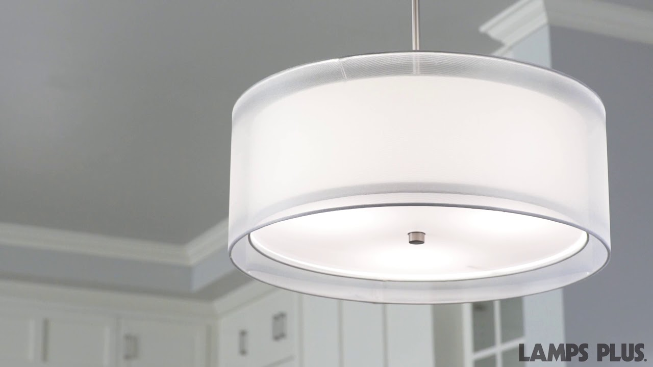 "Possini Euro Double Drum 20"" Wide White Pendant"