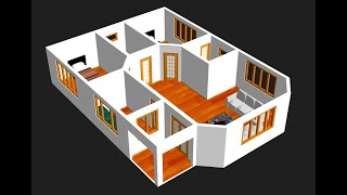 Small House Plan 9 X 12m 2 Bedroom With American Kitchen 2020