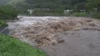 台風10号氾濫危険水位超過釜石市甲子川20160830翌日状況含
