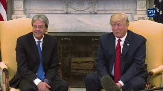 President Donald Trump Meets with Italian Prime Minister Paolo Gentiloni Handshake