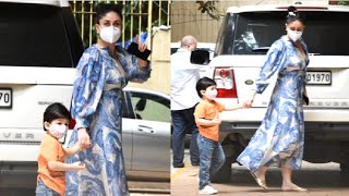 Taimur Ali Khan CUTE Wearing Mask With Mom Kareena Kapoor