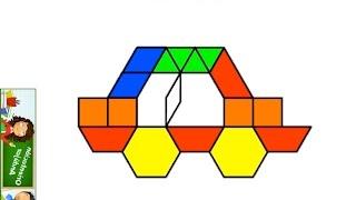 Aprendemos a dibujar un coche con figuras geométricas Pattern Block video tutorial