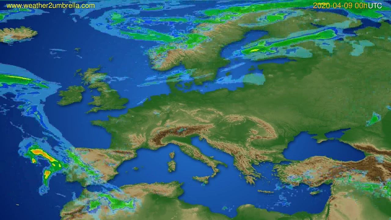 Radar forecast Europe // modelrun: 12h UTC 2020-04-08