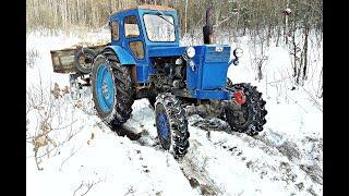 Трактор т-40 буксует с телегой