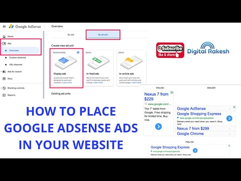How to place google AdSense ads in your website