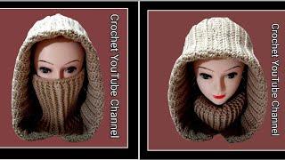 زنط ب كولة   Crochet Hooded Scarf / Hooded Cowl / قناة كروشيه يوتيوب  #كروشيه_يوتيوب