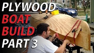 HomeMade plywood boat part 3 - finish bending the plywood bottom
