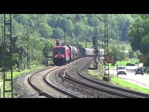 Züge auf der rechten Rheinstrecke bei Kasbach und Leutesdorf (August 2019): Class 66, 143, 145, 185
