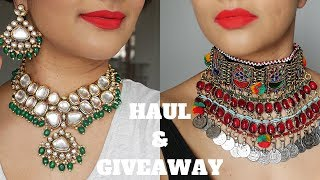 BEST AFFORDABLE INDIAN JEWELLERY ONLINE HAUL   AMAZON INDIA, GOODWILL KOCHI & MORE + GIVEAWAY 2019