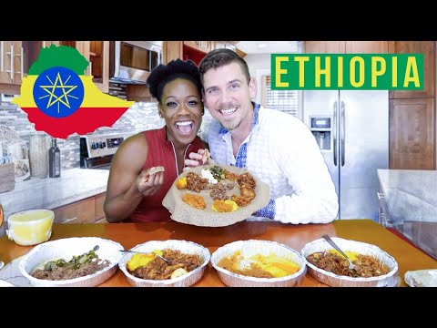 American Couple Tries ETHIOPIAN FOOD For The FIRST TIME | Injera, Shiro, and More