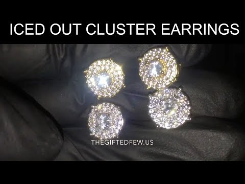 Iced Out Cluster Earrings 💎 The Gifted Few Gold Review