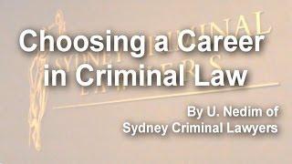 Choosing a Career in Criminal Law