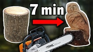 CHAINSAW CARVING THIS OWL IN 7 MIN