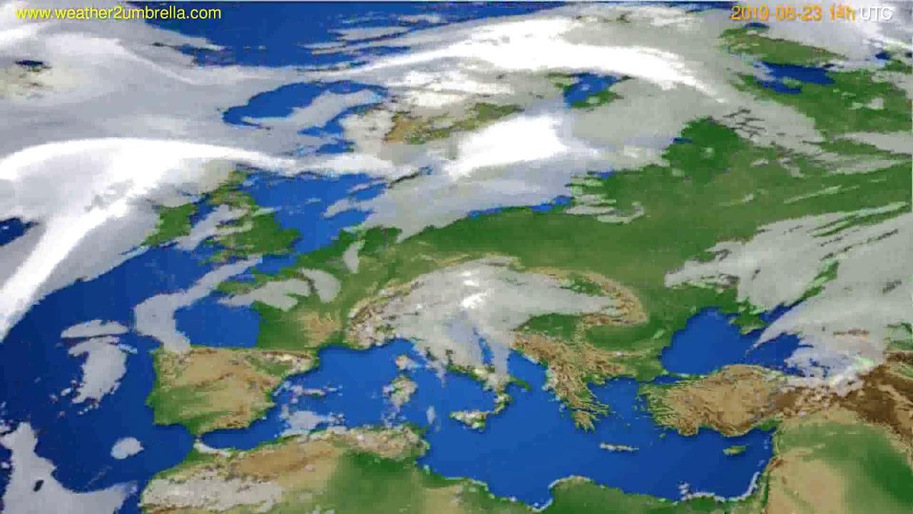 Cloud forecast Europe // modelrun: 12h UTC 2019-08-21