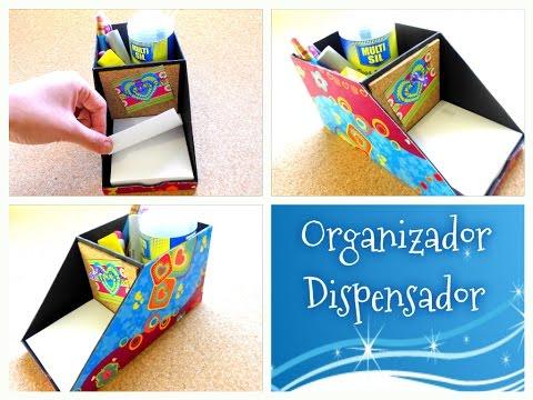 Haz tu propio organizador de escritorio, dispensador de notas y porta notas 3 en 1