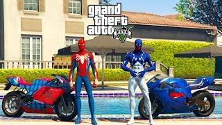 SUPER MOTOS com CARROS e Cosmic HOMEM ARANHA e Super Heróis na Rampa GTA V - GetMods Games