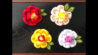 【100均 つまみ細工】kanzashi Flower  髪飾り作り方 着物 浴衣