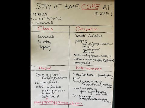Screenshot of video: Ways to cope at home whilst in Lockdown