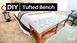 How To Build A DIY Tufted Bench With Hidden Storage | Home Decor