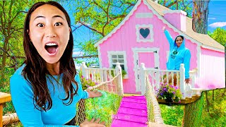 WE BUILT A GIRLS LOUNGE IN A TREE HOUSE!!