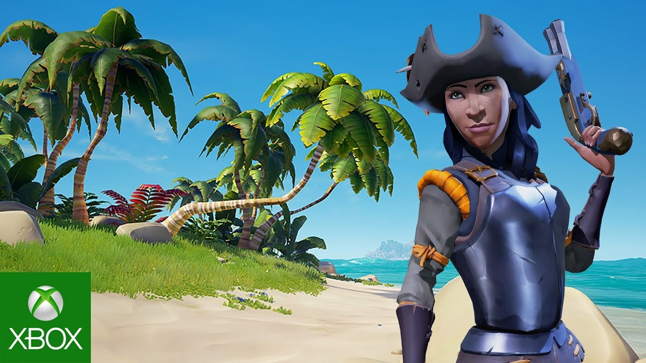 Female Character posing with pistol on a desert island