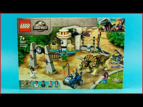 LEGO JURASSIC WORLD 75937 Triceratops Rampage Construction Toy - UNBOXING